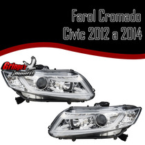 Par Farol New Civic 2012 2013 2014 Cromado Led Tuning