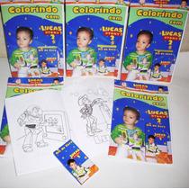 1 Revista De Colorir Personalizada+giz De Cera - 15x21cm