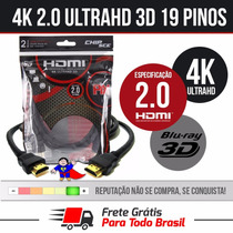 Cabo Hdmi 2m 2.0 19 Pinos Ethernet 2 Metros 4k Ultra Hd 3d
