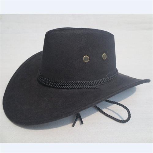 79e7f365ee617 Chapéu Preto Cowboy Country Masculino Aba Grande Com Cadarço