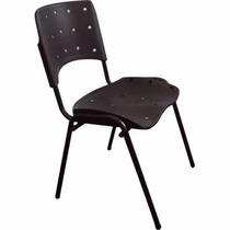 Cadeira Fixa Plástica Ergoplax Empilhável Preta