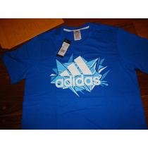 Camiseta Adidas Azul Algodão Tam. M Argentina Made Turquia