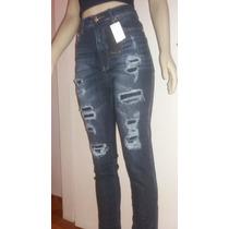 Calça Jeans Rasgada Com Forro Revanche Cintura Alta