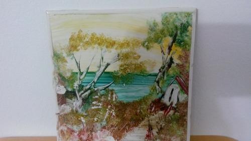 Quadro paisagem pintura sobre azulejo assinado r 10 szlv4 - Pintura azulejos precio ...
