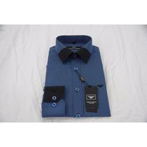Camisa Social Masculina Armani , Cor Azul Preto