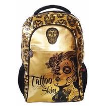 Mochila Escolar Caveira Tattoo Skin Original Reforçada Top!