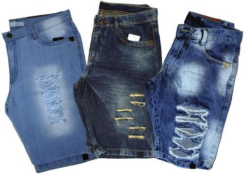Kit 3 Bermudas Short Jeans Masculino Slim Destroyed Rasgada b5a79e6dfa7