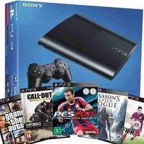 Playstation 3 Ps3 500gb C/ 32 Jogos Originais E 2 Controles