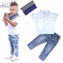 Conjunto Menino Camisa Manga Calça Jeans Faixa 4 5 Anos