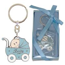 Chaveiro Lembrança Chá De Bebê Carrinho De Bebê Azul Metal