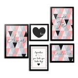 Kit Quadros Decorativos Com Moldura Frases Motivacionais Abstrato Love Quarto Sala