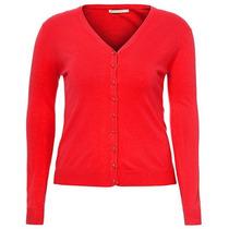 Cardigan Plus Size Básico Feminino Mooncity - Vermelho