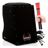 Cajón Witler Drums Eletroacústico | 2 Cabos | 2 Vassourinhas