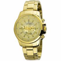 Relógio Masculino Citzen Dourado Cronógrafo Caixa Grande