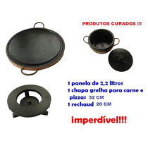 Kit Com Panela Grelha E Rechaud De Pedra Sabão Imperdível!!!