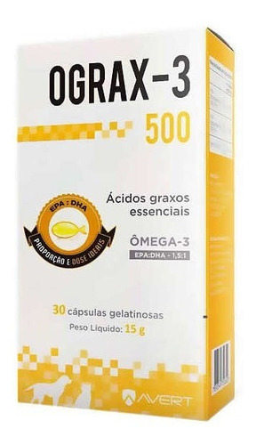 Ograx 500mg Avert C/ 30 Comprimidos Omega-3