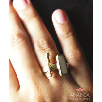 Anel De Prata 950 Banhado A Ouro 18k C/ Pedra Orgânica