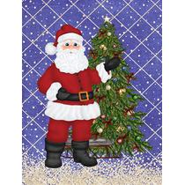 Papai Noel E Árvore De Natal Da Bandeira Jardim Tamanho Sb3