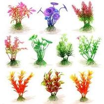 Kit 10 Plantas Artificiais Coloridas 10cm Aquário Terrário