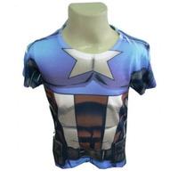 Camiseta Super Herói Fantasia Capitao America Avenger 1ano
