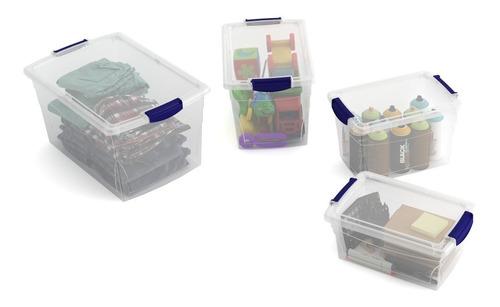 Kit Com 4 Caixas Organizadoras De Plástico Com Tampa - Begônia - Origem Itália