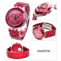 Relógio Swatchfull Blooded Raspberry Svck4050ag -12x Sem Jur