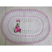 Tapete Oval De Barbante Crochê Com Aplique De Flor