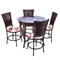Conjunto Junco Mesa Redonda 4 Cadeiras