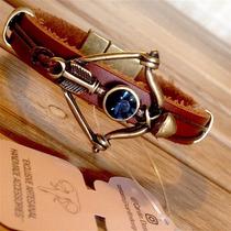 Pulseira Masculina Couro Legítimo Ouro Velho Bracelete Ofert