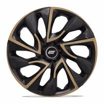 Jogo Calota 14 Universal Preta Ds4 Gold Fiat Ford Gm Volks