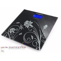 Balança Digital Black 180kg Visor Lcd Vidro Temp Banheiro