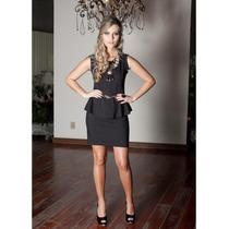 Vestido Misses - Tricoline - Preto