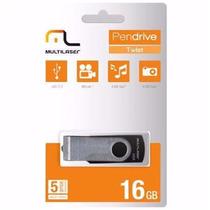 Pen Drive Multilaser 16gb Twist Vídeos Músicas Pd588 Preto