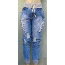 Calça Jeans Destroyed Hot Pant Moletom Cós E Punho, Panicat.