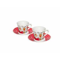 Jogo 2 Xícaras De Café De Porcelana Natal