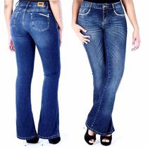 Calça Sawary Jeans Flare Cintura Modela Levanta Bumbum Pit