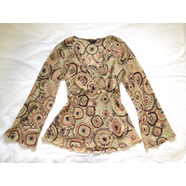 Blusa Camisa Feminina Bege Estampado Retrô Sêda 38