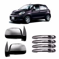 Kit Capa Retrovisor Maçaneta Cromada Nissan March 4 Portas