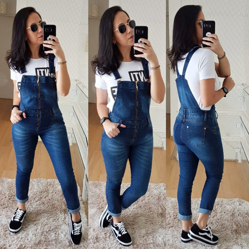 1689df56b Macacão Calça Jeans Jardineira Feminino Comprido Zíper à venda em ...