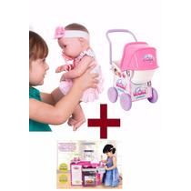 Cozinha + Carrinho De Boneca + Boneca Baby Ninos Cotiplas