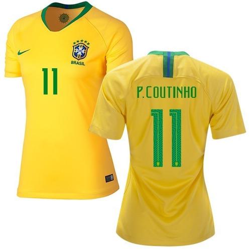 Camisa Brasil - Uniforme 1 Feminina - 2018 - Frete Grátis. Preço  R  129 99  Veja MercadoLibre c2fd1d1a2655e