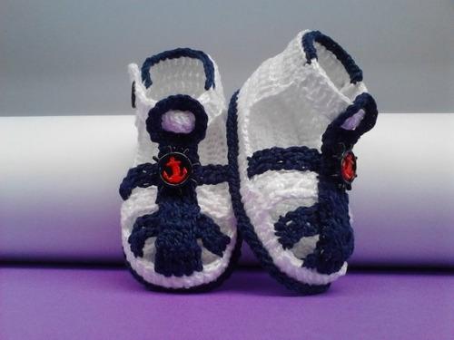 149 Sapatinho Croche Masculino Branco Sandalia Bebe Menino - R$ 22