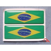 Kit 2 Bandeiras = Brasil Resinado Para Placa Moto Carro Erc