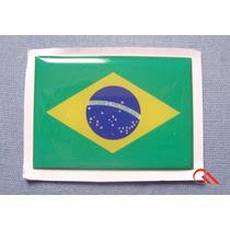 Kit 2 Bandeiras Do Brasil Resinada 6x4cm Placa De Moto Carro