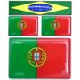 Kit 3 Bandeiras Resinadas Portugal 1de 6x4 2 De 2,5x1,5 Cm