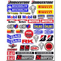 Cartela 47 Adesivos Patrocinadores Moto Gp Honda Yamaha Suzu