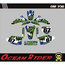 Kit Adesivos Completo + Capa Crf230-moto-trilha Ocean Rider