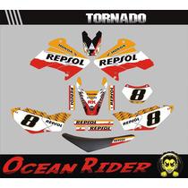Kit Adesivos Completo+capa Tornado-moto-trilha-ocean Rider
