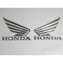 Adesivos Asa Honda Twister Resinado 9x11 Cms Cromado- Decalx