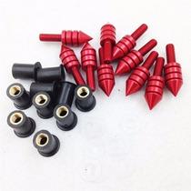 Kit 10 Parafusos De Alumínio P/ Bolha E Carenagem - Vermelho